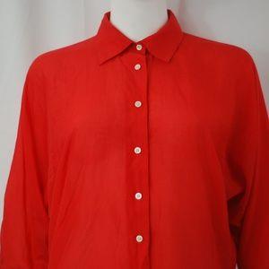 Ralph Lauren Button Down Geranium Red Blouse Sz S
